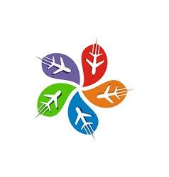 Abstract logo plant transportation spin vector