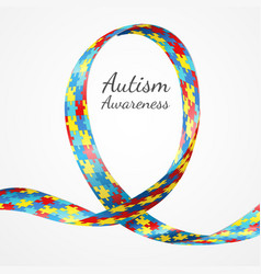 Autism awareness colorful puzzle ribbon vector