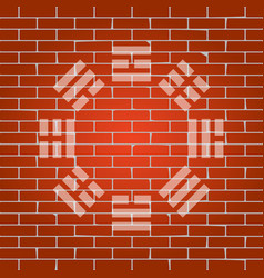 Bagua sign whitish icon on brick wall as vector