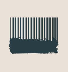 Barcode on grunge brushstroke vector