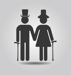 black senior male and female couple symbol icons vector image vector image