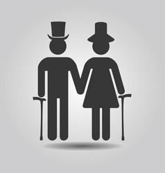 Black senior male and female couple symbol icons vector