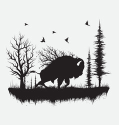 buffalo walking in the forest vector image vector image