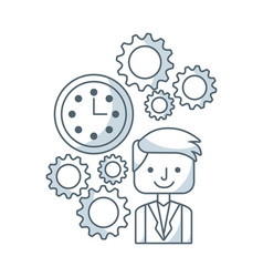 Business person with set line icons vector