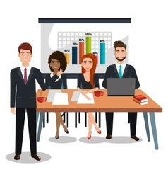 Businesspeople in training process isolated icon vector