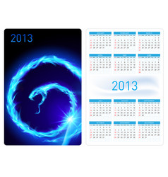 calendar twenty thirteen blue fire snake for vector image