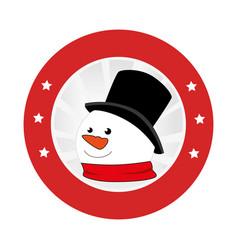 Circular emblem with snowman face vector