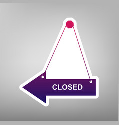 Closed sign purple gradient vector