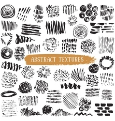 collection of black ink abstract textures vector image vector image