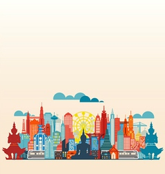 Colorful panorama asia city and building vector image vector image