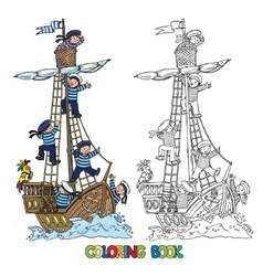 Coloring book with ship and happy sailors vector