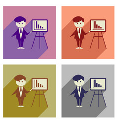 Concept of flat icons with long shadow businessman vector