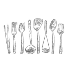 Cooking Hand-drawn set of kitchen tools vector image vector image