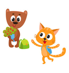 Cute animal student characters bear holding vector