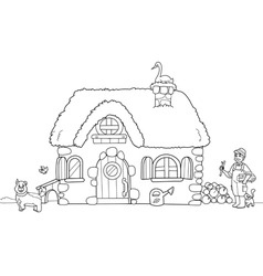 Cute farm coloring image vector image vector image