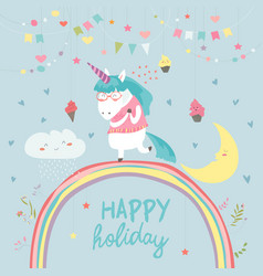 Cute unicorn walking on the rainbow vector
