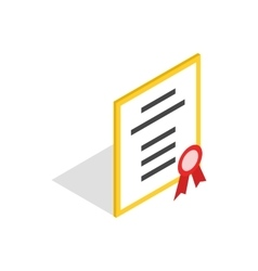 Diploma or certificate icon isometric 3d style vector image