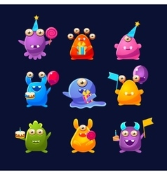 Fantastic monsters with birthday party objects vector