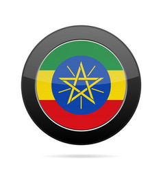Flag of ethiopia shiny black round button vector