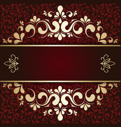 Gold ornament on a burgundy background card vector