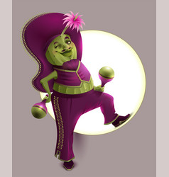green cactus male in mexican national clothes vector image