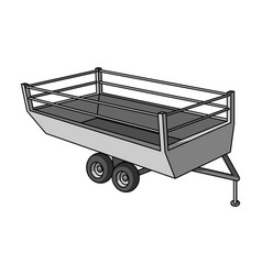 grey trailer on wheels for transportation of farm vector image
