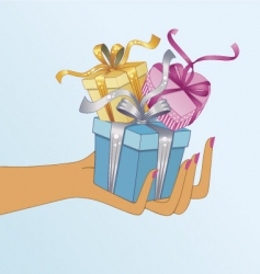 hand holding gifts vector image vector image