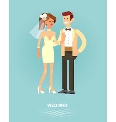 Happy wedding couple vector image
