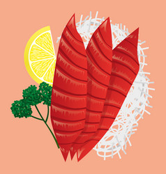 Japanese cuisine fresh tuna sashimi vector