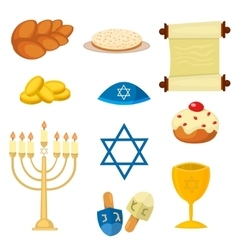 Judaism church traditional symbols icons set vector