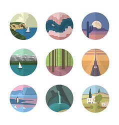 Landscapes icons collection vector