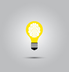 Light bulb brain icon vector
