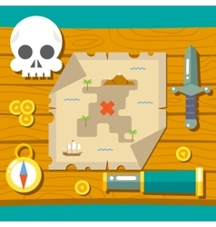 Pirate treasure adventure game rpg map action vector