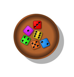 playing dices in a cup vector image vector image