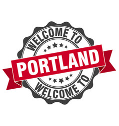 Portland round ribbon seal vector