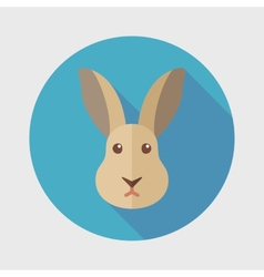 Rabbit flat icon with long shadow vector