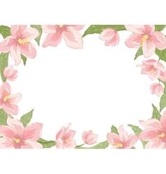 Rectangular border frame pink spring flowers white vector