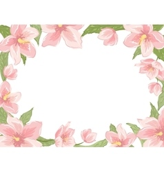 Rectangular border frame pink spring flowers white vector image vector image