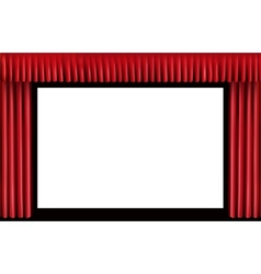Red curtain Blank cinema screen vector image