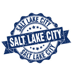 Salt lake city round ribbon seal vector