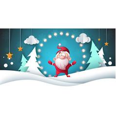 Santa claus paper landscape merry christmas vector