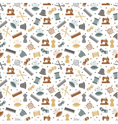 sewing or knitting seamless pattern design vector image