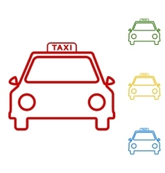 Taxi sign Set of line icons vector image vector image