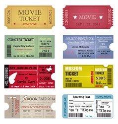 Ticket template designs vector