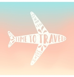 Time to travel plane silhouette vector