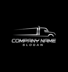 truck symbol black background vector image vector image
