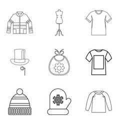 winter clothes icon set outline style vector image vector image