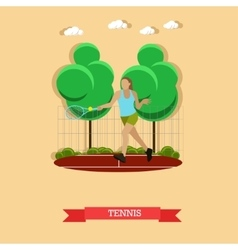 Woman playing tennis on the court flat design vector image vector image