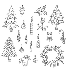 Christmas decoration set with graphic elements vector