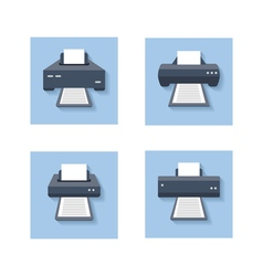 Print flat icons office paper printer scanner and vector